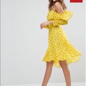 Cold Shoulder Ruffle Tea mini dress